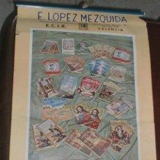 Coleccionismo Calendarios: CALENDARIO PUBLICITARIO. 1947. E. LOPEZ MEZQUIDA, VALENCIA. COMPLETO. 29 X 45CM. VER FOTOS. Lote 75678135
