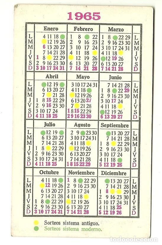 Calendario Del Ano 1965.Calendario De Loteria Nacional Ano 1965