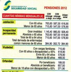 Colecionismo Calendários: CALENDARIO 2012 - PENSIONES - SEGURIDAD SOCIAL. Lote 153854569