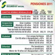 Colecionismo Calendários: CALENDARIO 2011 - PENSIONES - SEGURIDAD SOCIAL. Lote 75844895
