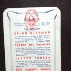 Coleccionismo Calendarios: CALENDARIO ESPECTACULOS S.A.D.E 1952 SALON MIRAMAR,TEATRO PRINCIPE,TEATRO TRUEBA,CINEPEQUEÑO CASINO . Lote 76580727