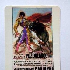 Coleccionismo Calendarios: CALENDARIO DE BOLSILLO 1987. CARTEL CORRIDA TOROS POZOBLANCO. PAQUIRRI-YIYO-SORO. Lote 76960573
