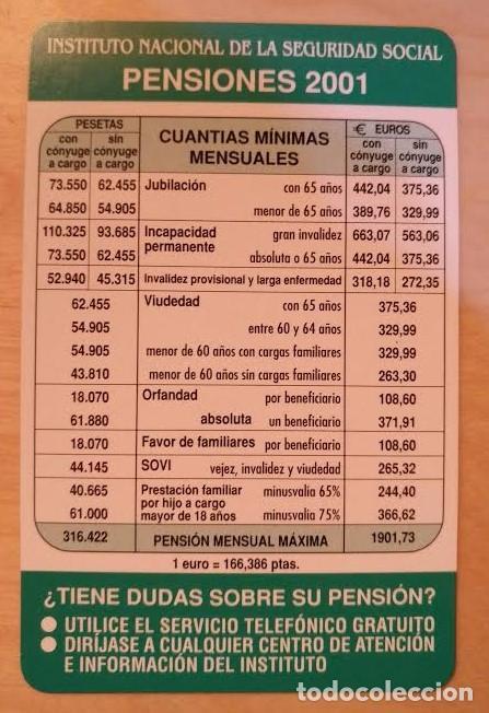 CA 22 CALENDARIO INSTITUTO NACIONAL DE LA SEGURIDAD SOCIAL PENSIONES 2001 (Coleccionismo - Calendarios)