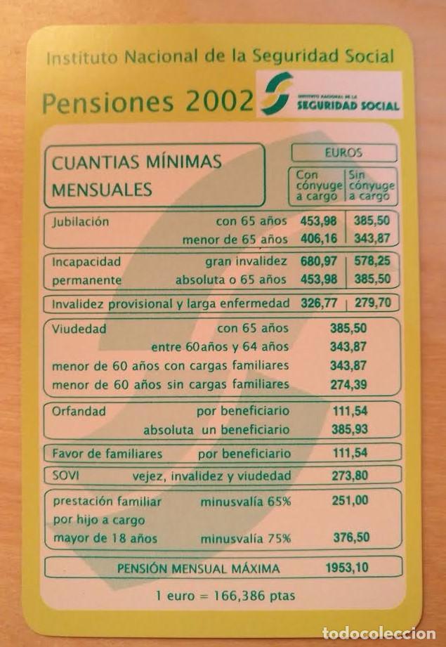 CA 23 CALENDARIO INSTITUTO NACIONAL DE LA SEGURIDAD SOCIAL PENSIONES 2002 (Coleccionismo - Calendarios)