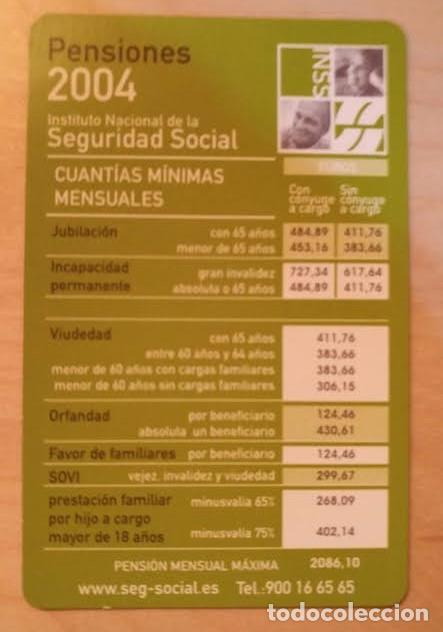 CA 25 CALENDARIO INSTITUTO NACIONAL DE LA SEGURIDAD SOCIAL PENSIONES 2004 (Coleccionismo - Calendarios)
