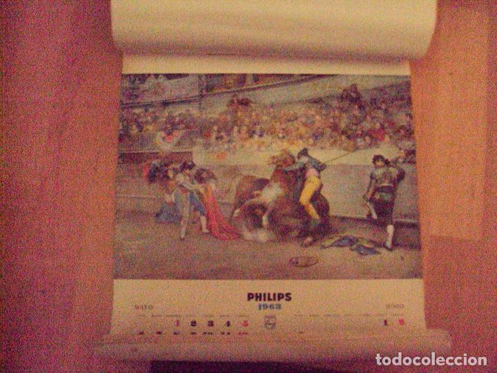 Coleccionismo Calendarios: CALENDARIO PARED PHILIPS 1963. 6 LAMINAS DE CORRIDAS DE TOROS Y COSTUMBRISTAS - Foto 2 - 77881097