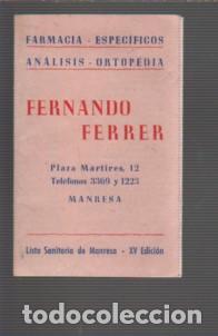 CALENDARIO DESPEGLABE PUBLICIDAD FARMACIA FERNANDO FERRER PLAZA MARTIRES DE MANRESA 1958 (Coleccionismo - Calendarios)