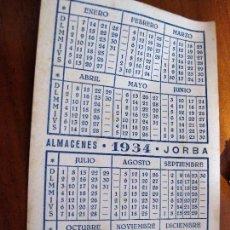 Coleccionismo Calendarios: ANTIGUO CALENDARIO DEL BAR RESTAURANTE DE LOS ALMACENES JORBA AÑO 1934 . TARJETA. Lote 82938848