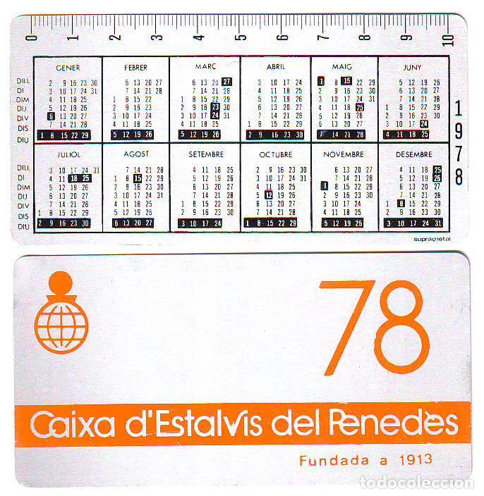 CALENDARIO - CAIXA ESTALVIS PENEDES 1978 - METALICO ALUMINIO (Coleccionismo - Calendarios)