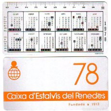 Coleccionismo Calendarios: CALENDARIO - CAIXA ESTALVIS PENEDES 1978 - METALICO ALUMINIO. Lote 85274852
