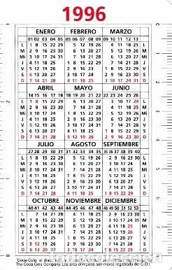Calendario 1996.Calendario 1996 Publicidad Coca Cola Aros Sold