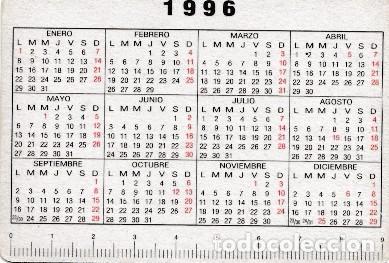 Calendario 1996.Calendario 1996 Publicidad Unicas Monedas Vigentes Desde El 1 Enero De 1997 Ver Foto Reverso