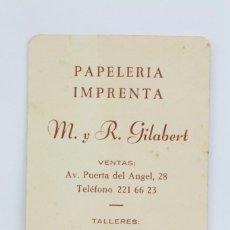 Coleccionismo Calendarios: CALENDARIO PUBLICITARIO DE BOLSILLO - PAPELERÍA, IMPRENTA M Y R GILABERT, BARCELONA - AÑO 1963. Lote 87742048