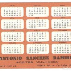 Coleccionismo Calendarios: CALENDARIO 1967 ACEITES MULHACEN. PUEBLA DE LA CALZADA, BADAJOZ.. Lote 90038368