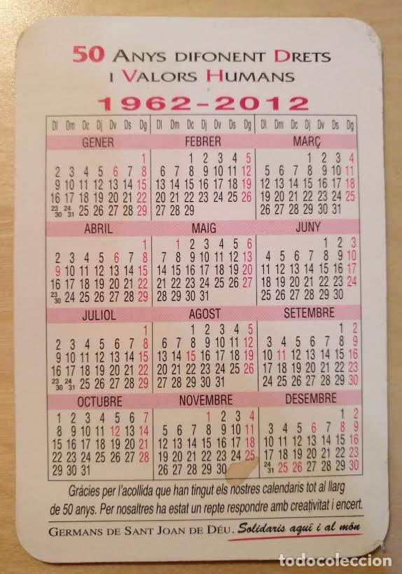 Coleccionismo Calendarios: Ca 40 Calendario 2012 - 50 anys... Germans de San Joan de Déu - Foto 2 - 91634570