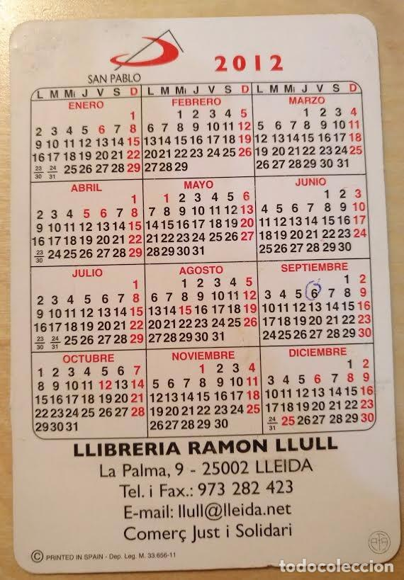 Coleccionismo Calendarios: Ca 39 Calendario 2012 - San Pablo - Llibreria Ramon Llull - Foto 2 - 91634760