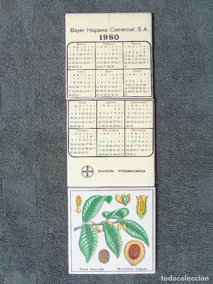 CALENDARIO EN CERÁMICA. 1980 BAYER HISPANIA COMERCIAL.S.A. DIVISIÓN FITOSANITARIOS. 3 AZULEJOS. (Coleccionismo - Calendarios)