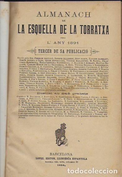 2 ALMANACH DE L' ESQUELLA DE LA TORRATXA 1891 I 1892. 20X14CM. 190 + 192 P. (Coleccionismo - Calendarios)