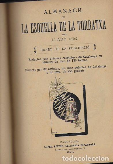 Coleccionismo Calendarios: 2 Almanach de l' Esquella de La Torratxa 1891 i 1892. 20x14cm. 190 + 192 p. - Foto 8 - 95374371