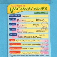 Coleccionismo Calendarios: UNO CALENDARIOS DEL AÑO 2005 DE PUBLICIDAD DE JUNTA DE ANDALUCÍA CALENDARIO VACUNACIÓN. Lote 95871403