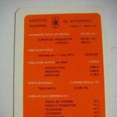 Coleccionismo Calendarios: CALENDARIO DE INSTITUTO NACIONAL DE ESTADISTICA AÑO 1971. Lote 98841419