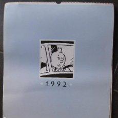 Coleccionismo Calendarios: BONITO CALENDARIO DE PARED DE TINTIN AÑO 1992 . 12 LAMINAS LAMINA HERGE MOULINSART BELGIUM 43/33CM T. Lote 101155819
