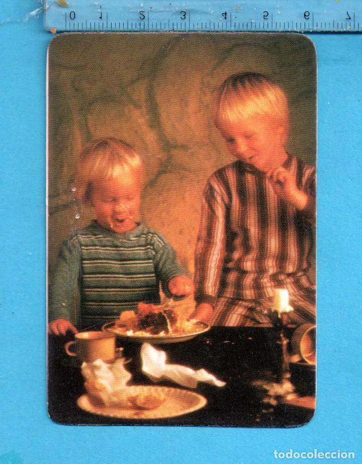 CAL. AÑO 1980 UN BONITO NIÑOS COMIENDO DULCES PUBLICIDAD DE UN BAR DE DAIMIEL (CIUDAD REAL) (Coleccionismo - Calendarios)