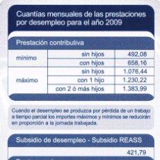 Coleccionismo Calendarios: CALENDARIO 2009 - PUBLICIDAD INEM. Lote 153853765