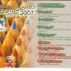 Coleccionismo Calendarios: CALENDARIO CALENDARIO VACUNACION 2007. Lote 104368259