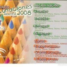 Coleccionismo Calendarios: CALENDARIO CALENDARIO VACUNACION 2008. Lote 104368319