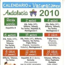 Coleccionismo Calendarios: CALENDARIO CALENDARIO VACUNACION 2010. Lote 104368331