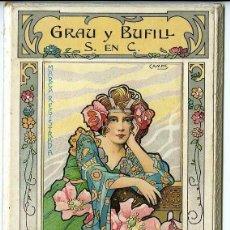 Coleccionismo Calendarios: AÑO 1904. DISEÑO ORIGINAL DE CAMPS EXCLUSIVO PARA LABORATORIO DR. GRAU. TAMAÑO 9X13,5 CM.. Lote 109309883