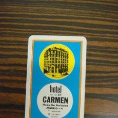 Coleccionismo Calendarios: CALENDARIO DE BOLSILLO. HOTEL NTRA. SRA. DEL CARMEN. 1965. H. FOURNIER. EXCELENTE CONSERVACION.. Lote 111330039