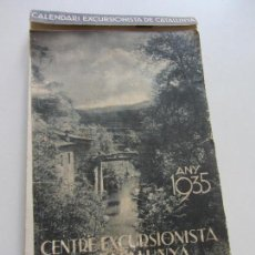 Coleccionismo Calendarios: CALENDARI CENTRE EXCURSIONISTA DE CATALUNYA. CLUB ALPÍ CATALÀ. ANY 1935. CALENDARIO C92SADUR. Lote 111873955