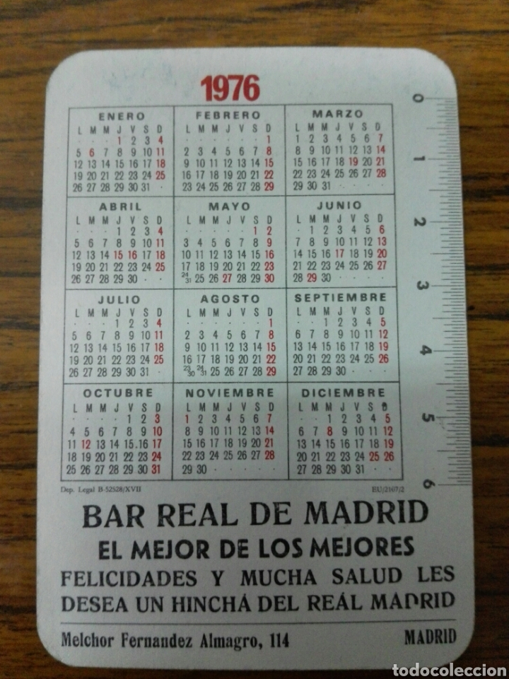 Calendario Real Madrid.Calendario Real Madrid Bar R Mad Ano 76 Sold Through Direct Sale
