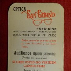 Coleccionismo Calendarios: CALENDARIO DE BOLSILLO - OPTICA SAN GABINO - PARA EL AÑO 1969. Lote 116139571