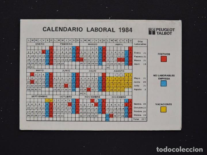 Calendario Laboral 2020 Gijon.Calendario Bolsillo Coche Peugeot Talbot Calendario Laboral Turnos Trabajo Permisos Ano 1984