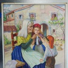 Coleccionismo Calendarios: CALENDARIO CHOCOLATES RIUCORD BARCELONA. AÑO 1937. ABUELA Y NIÑOS APRENDIENDO A TEJER. Lote 122854607