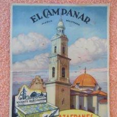 Coleccionismo Calendarios: NOVELDA(ALICANTE)BONITO CALENDARIO 1950.EL CAMPANAR(CONDIMENTOS)CARTÓN DE 36X25CM.. Lote 125433403