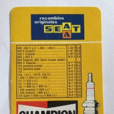 Coleccionismo Calendarios: CALENDARIO FOURNIER -1976- CHAMPION RECAMBIOS ORIGINALES SEAT. EN MUY BUEN ESTADO.. Lote 128494667