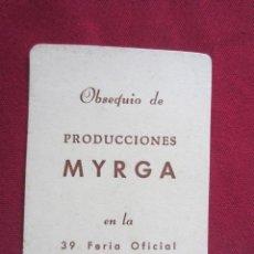 Coleccionismo Calendarios: CALENDARIO DE BOLSILLO - 1971 - PRODUCCIONES MYRGA. Lote 135412578