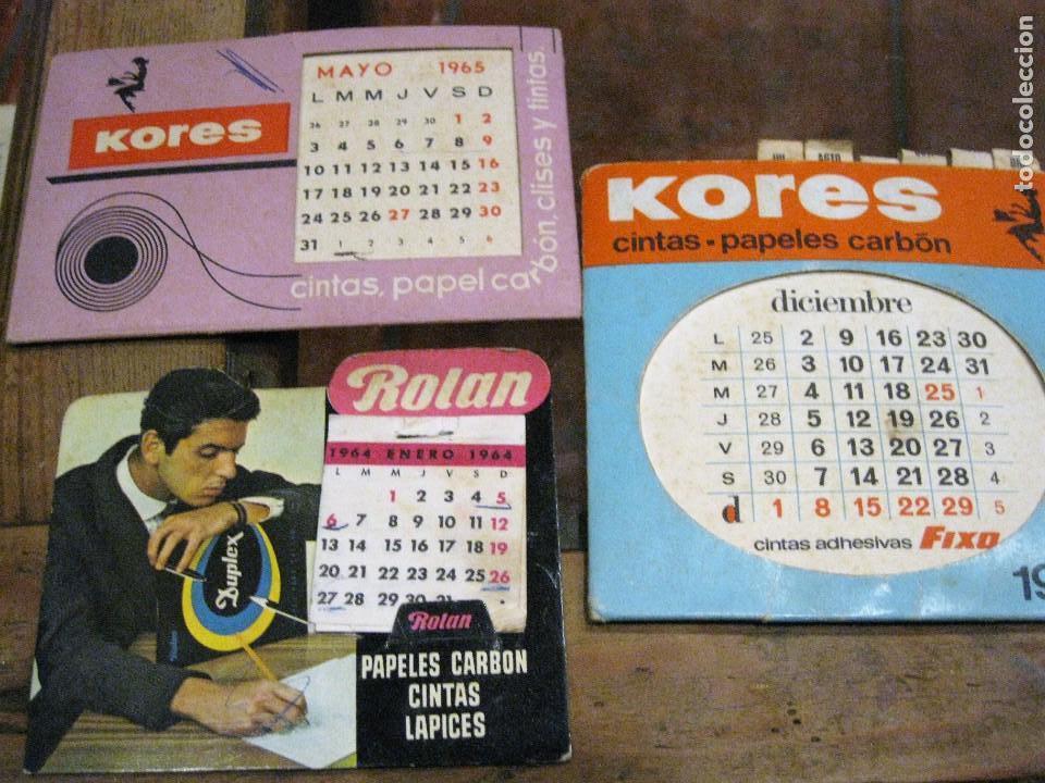 3 CALENDARIO DE SOBREMESA 2 KORES 1 ROLAN - EN CARTON . BUEN ESTADO 1964- 65 -68 (Coleccionismo - Calendarios)