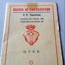 Coleccionismo Calendarios: CALENDARIO DE BOLSILLO - 1964 - PUBLICIDAD IGLESIA DE SAN CAYETANO - BARCELONA. Lote 141831326