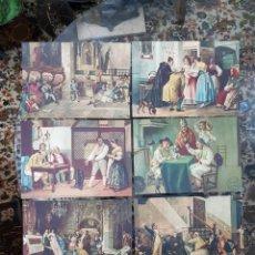 Coleccionismo Calendarios: 9 LAMINAS RECORTADAS DE CALENDARIO CON MOTIVOS VALENCIANOS DE ALGODONES LAS BARRACAS AÑOS 40. Lote 143314402
