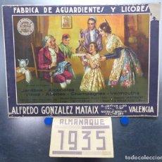 Coleccionismo Calendarios: FABRICA DE AGUARDIENTES Y LICOR ALFREDO GONZALEZ MATAIX, VALENCIA - CALENDARIO AÑO 1935. Lote 144098818