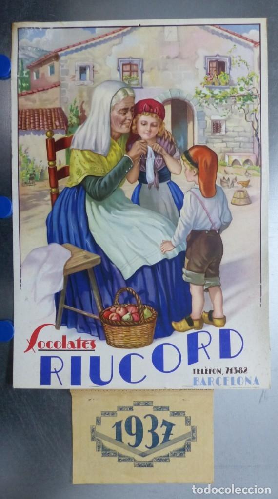 CALENDARIO CHOCOLATES RIUCORD BARCELONA, AÑO 1937 (Coleccionismo - Calendarios)