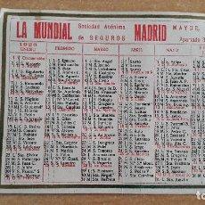 Coleccionismo Calendarios: CALENDARIO NO FOURNIER SEGUROS LA MUNDIAL AÑO 1926 - VER FOTO ADICIONAL. Lote 146754594