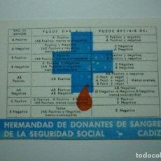 Coleccionismo Calendarios: HERMANDAD DE DONANTES DE SANGRE. CADIZ. 1979. Lote 148689406