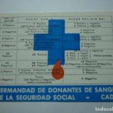 Coleccionismo Calendarios: HERMANDAD DE DONANTES DE SANGRE. CADIZ. 1978. TIPO FOURNIER. . Lote 148689546