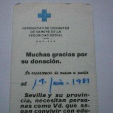 Coleccionismo Calendarios: HERMANDAD DE DONANTES DE SANGRE. SEVILLA. 1981. Lote 148689694